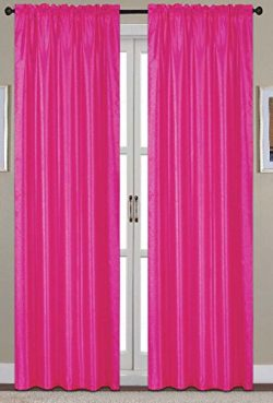 RT Designers Collection Nikki Faux Silk 54 x 84 in. Rod Pocket Curtain Panel, Neon Pink