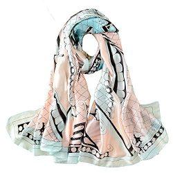 100% Silk Scarf Summer Women's Fashion Printed Large Headscarf Lady's Lightweight Fl ...