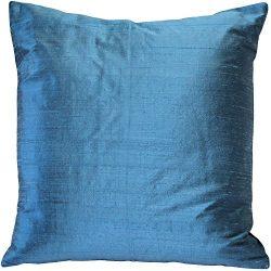 Pillow Decor Sankara Marine Blue Silk Throw Pillow 20×20