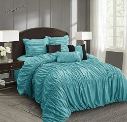 EverRouge Mia All Season Silk 7-piece Comforter Set (Choice Color and Size) (Turquoise, King)