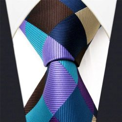 Intrepid Corporate Elite Sky Blue, Blue , Brown and Purple Checked Pattern Men's Necktie T ...
