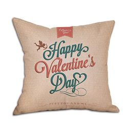 MAIDIEN Valentine's Day Gift Pillowcase Couples Linen Pillow Cases Cushion Cover Throw Wai ...