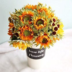 Lvydec 2pc Artificial Sunflower Bouquet – 10 Silk Flower Head Vintage Fake Flower with Wheat and ...