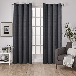 Exclusive Home Virenze Faux Silk Window Curtain Panel Pair with Grommet Top, Black Pearl, 54&#21 ...