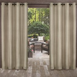 Exclusive Home Curtains Exclusive Home Biscayne Indoor/Outdoor Two Tone Textured Window Curtain  ...