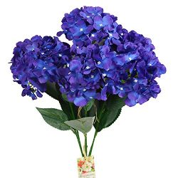 DALAMODA Violet Artificial Silk 6 Heads Hydrangea Bouquet,Flower Bunch DIY Home Hotel Wedding Pa ...