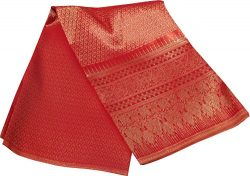 RaanPahMuang Unstitched Thick Thai YowRaet Silk Fabric for Skirts Dresses 40×140″, Red