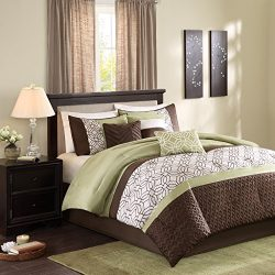 Madison Park Briggs Queen Size Bed Comforter Set Bed In A Bag – Green, Brown, Embroidered  ...
