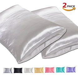Silk Satin Pillowcase for Hair and Skin, Facial Beauty Hypoallergenic, No zipper Pillowcase Cove ...