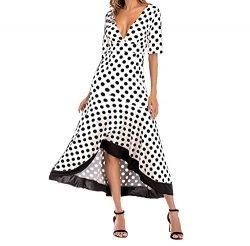 JIANLANPTT Women Elegant Dresses Half Sleeve Sexy Deep V Polka Dots Print Dress White L