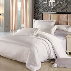 LILYSILK King Silk Duvet Cover 100% Mulberry Silk King Bed 19 Momme Pure Silk Comforter Cover White