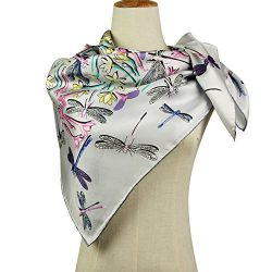 Silk Scarf Square Scarf for Hair – Pantonight 14MM Dragonfly Twill Silk Scarf for Women (S ...