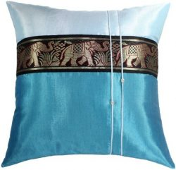 Artiwa Blue Sofa Couch Decorative Silk Pillow Case 20 by 20 inch Large Thai Elephants Stripe Gif ...