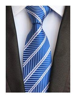 Secdtie Men's Classic Stripe Jacquard Woven Silk Tie Formal Party Suit Necktie (One Size,  ...