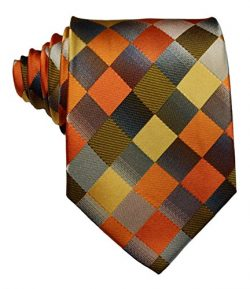 Scott Alone : New Classic Checks Jacquard Woven Silk Men's Tie Necktie (Khaki)