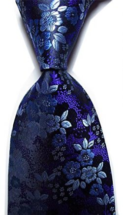 Xiessi Men's Classic Purple Jacquard Woven Silk Tie Microfiber Formal Necktie
