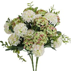 ALIDEAL Artificial Hydrangea Silk Flowers White for Wedding Home Party Arrangements Decor 2PCS