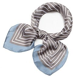 Silk Scarf Square Satin Headscarf Fashion Maze Neck Hair Scarves for Women Grey