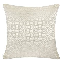 Homey Cozy Faux Silk Ivory Throw Pillow Cover,Ornate Honeycomb High-Precision Jacquard Geometric ...