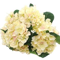 Felice Arts Artificial Flowers 18″ Silk 7 Big Head Hydrangea Bouquet for Wedding, Room, Ho ...