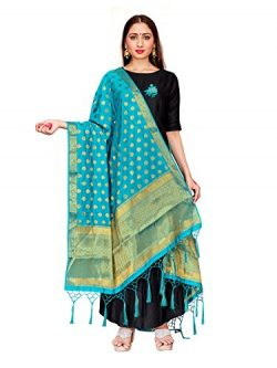 ELINA FASHION Women's Zari Work Indian Banarasi Art Silk Woven Only Dupatta for Dress Mate ...