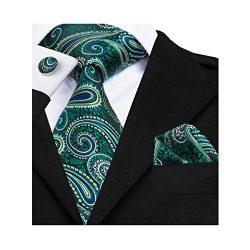 Barry.Wang Stylish Green Tie Set Hanky Cufflinks Wedding Party Necktie,Green,One Size