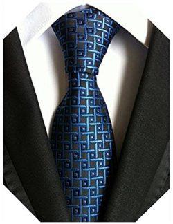 Wehug Men's Classic Plaid Tie Silk Woven Necktie Jacquard Neck Navy Ties For Men LD0048
