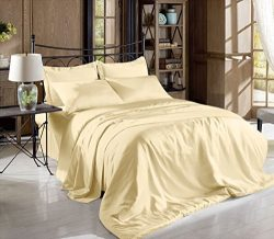 Hight Thread Count Solid Color Soft Silky Charmeuse Satin Luxury and Super Soft Bed Sheet Set (B ...