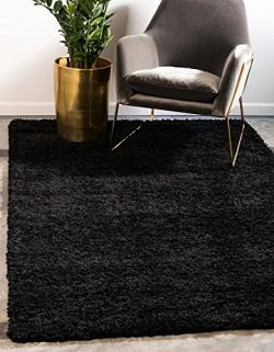 Unique Loom Solo Solid Shag Collection Modern Plush Jet Black Square Rug (8′ x 8′)
