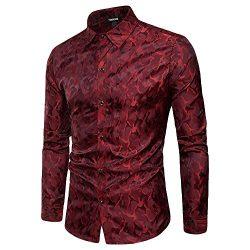 YIMANIE Mens Regular Fit Long Sleeve Shiny Satin Silk Like Dance Prom Dress Shirt Tops