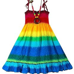 Summer Style Little Girls Fashion Sleeveless Bohemian Knee-length Beach Dresses (5T, Red&Yellow)