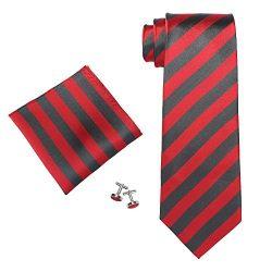 Landisun SILK Stripes Mens SILK Tie Set: Tie+Hanky+Cufflinks 529 Dark Grey Red, 3.75″Wx59& ...