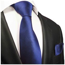 Royal Blue Silk Men's Tie and Pocket Square by Paul Malone