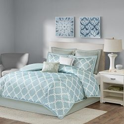 King Comforter Set Milton – 8 Piece – Fretwork print Merritt – Blue – Fa ...