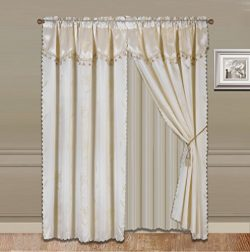 GorgeousHomeLinen 8-Piece Beige Nada Luxury Faux Jacquard Flower Design Panel, Rod Pocket Window ...