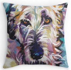 Space No. 1 Irish Wolfhound Bright colorful pop dog art 18″x18″ inch Two Size Suitba ...
