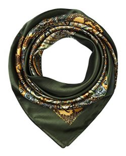 35″ Women's Satin Square Silk Feeling Dark Olive Totem Pattern Hair Scarf