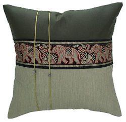 Avarada 16×16 Inch (40×40 cm) Striped Elephant Decorative Throw Pillow Covers Case Cus ...