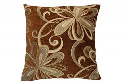 Violet Linen Chenille Chateau Vintage Floral Design Decorative Cushion Cover, 18″ x 18R ...