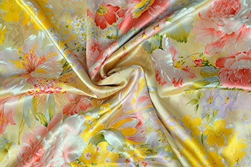 Maxfeel 100% Pure Mulberry Silk Charmuse Floral Fabric 45 Wide for Bedding Dress By the Yard or  ...