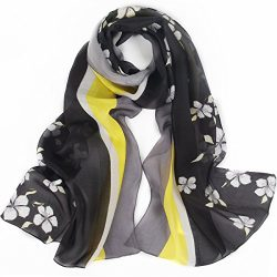 Silk Scarf Women, IRRANI silk scarves Thin and light Neckerchief The best gift (yellow-black)
