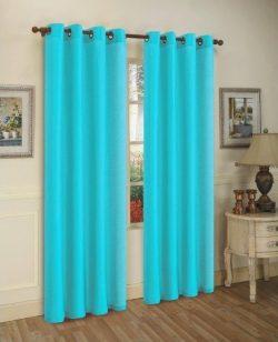 LuxuryDiscounts 2 Piece Solid Aqua Blue Faux Silk Grommet Window Curtain Treatment Panel Drapes  ...