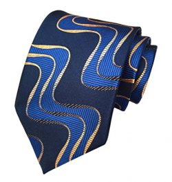 Secdtie Men's Blue Striped Textured Check Jacquard Woven Silk Tie Formal Necktie (One Size ...
