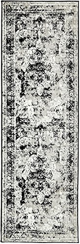 "Traditional Persian Vintage Design Rug Gray Rug Black 2′ x 6′ 7"" FT (201cm x 6 ..."