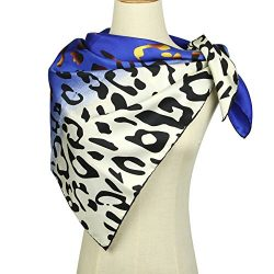 Silk Scarf Square Scarf for Hair – Pantonight 14MM Twill Leopard Silk Scarf for Women (blu ...