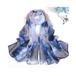 MELODY STORY Unique Print Silk Feeling Scarf For Women 63×20 Inches (Dark Blue)