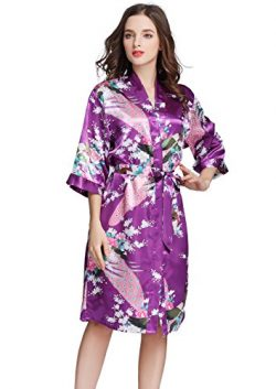 J.ROBE Women's Printing Lotus Kimono Robe Short Sleeve Silk Bridal Robe Purple M
