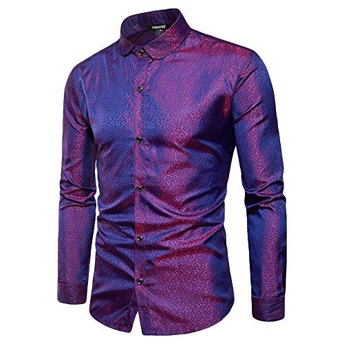 YIMANIE Mens Regular Fit Long Sleeve Shiny Satin Silk Like Dance Prom Dress  Shirt Tops b98c2a3b1