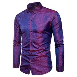 WULFUL Mens Slim Fit Regular Long Sleeve Shiny Satin Silk Like Dance Prom Dress Shirt Tops