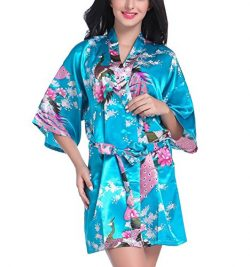 Admireme Women's Bridesmaid Robes Short Peacock Blossoms Kimono Robe Dressing Gown Floral  ...